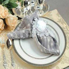 White Wedding Gem Napkin Rings