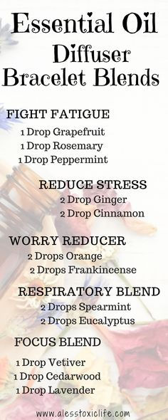 """Essential Oil Diffuser Bracelet Blends. Essential Oils for you your diffuser. Essential Oils Blends. Make your own essential oil blends."""