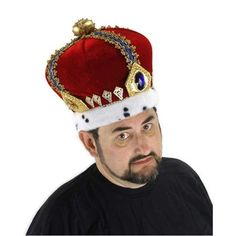 elope Royal King Hat: Blue Sapphire Rhinestones And Faux Ocelot Fur Adorn This Deluxe Velvet King's Crown. Has Fabric Lining, Hook And Loop Size Adjuster. Box Dimensions (In Inches) Length: Width: Height: King Costume, Costume Hats, Adult Costumes, Costume Ideas, Royal King, Royal Queen, King Hat, Kings Crown, Hat For Man