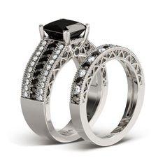 Jeulia 2.0 CT Princess Cut Created Black Diamond Wedding Set