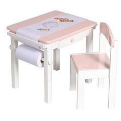 "Features a paper roll caddy and a child-friendly paper cutter. Available in both pink and red. Set includes table, chair and paper roll. Adult assembly required. 21.5""W x 17.5""D x 19""H Seat height 12"""