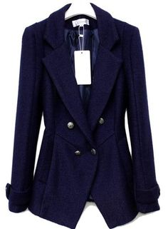 Slim Long-sleeved Double-breasted Blue Suit.1
