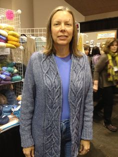 Merle from NG vol. worn by Jamie at Stitches West Cardigans, Sweaters, Open Cardigan, Stitches, Knit Crochet, Knitting, Sleeves, Pattern, Tops