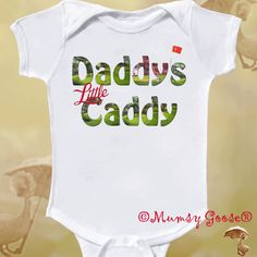 Funny Onesie Daddy Onsie Boy or Girl Golf Baby Bodysuit Newborn Romper to Kids Tshirts. $14.95, via Etsy.