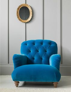 Bertie Armchair at Rose & Grey. Buy online now from Rose & Grey, eclectic home accessories and stylish furniture for vintage and modern living Vintage Chairs, Vintage Furniture, Chandeliers, Gold Home Accessories, Best Paint Colors, Cool Chairs, Blue Chairs, Desk Chairs, Accent Chairs