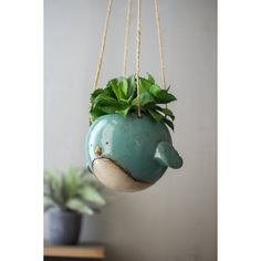 Kalalou Ceramic Hanging Planter - Blue Bird - Set Of 2