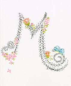 Personalizada monograma dibujado a mano arte de por ABitofWhimsyArt
