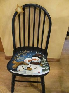 Old Chair Upcycle - - Bean Bag Chair Sketch - - Painted Chair Farmhouse - Reupholster Chair Bohemian Snowman Crafts, Xmas Crafts, Christmas Projects, Wood Crafts, Hand Painted Chairs, Hand Painted Furniture, Primitive Christmas, Christmas Snowman, Christmas Chair