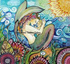Baby Mermaid with mama mermaid Flowers See Sun Nursery wall Art Room…