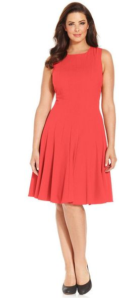 Pin for Later: 100 Sundresses Under $100: Ready, Set, Shop! Calvin Klein Pleated A-Line Dress Calvin Klein Plus Size Pleated A-Line Dress ($99)