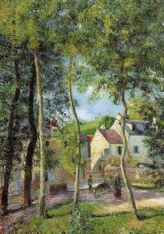 """Camille Pissarro (1830-1903) ~ """"Osny, Paysage près de l'Abreuvoir"""", 1883 (Détail) ~ Huile sur Toile originale 71 x 92 cm ~ Collection Privée"""