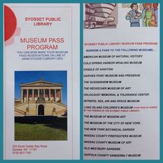 An image of the brochure for what our museum pass program offers to the residents of the Syosset Scool District.