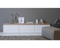 mueble tv. blanco y madera