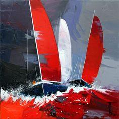 Image associée Sailboat Painting, Finger Painting, House Painting, School Design, Printmaking, Watercolor Art, Photo Art, Sailing, Canvas Art