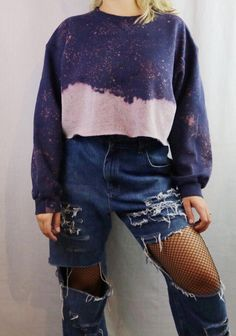 344064ddcd4 Custom Bleached Cropped Pullover Sweatshirt. Distressed. Edgy. Grunge.  Grungy 90s style.