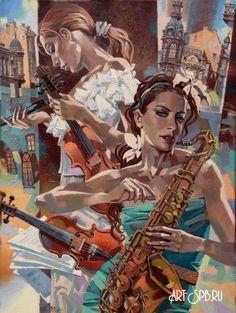 Две скрипки и саксофон