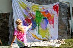 Fazer pintura jogando a bola com tinta em direção a um tecido pendurado numa parede: atividade de coordenação motora, de equilíbrio e de propriocepção