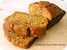 Pumpkin Zucchini Bread   Six Sisters' Stuff (subs recommended to me: 1/2 whole wheat flour / 1/2 white flour; 1/2 olive oil / 1/2 applesauce; 1/2 honey / 1/2 sugar)