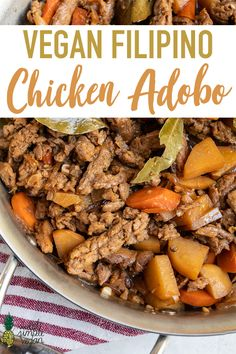 A vegan version of the classic Filipino dish! This adobo is packed with bold flavors and is spot on to the classic recipe. It's is easy to make and will be ready in about 30 minutes. #filipino #adobo #veganchicken #soycurls #entree #lunch #dinner