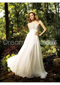 Fashion Empire Spaghetti Straps Embroidery & Crystals Court Train Wedding Dresses