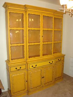 Charmant Like The Style, And The Color Too. 1950s Bubble Glass Breakfront China  Cabinet HUTCH