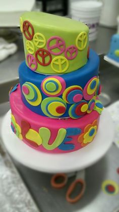 Peace & Love Wedding Cake