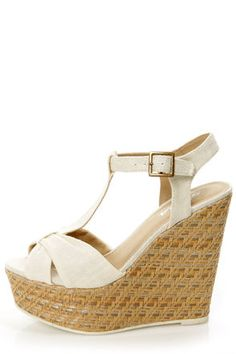 16f9cbc6e Heather 01 White Strappy Buckle Platform Wedge Sandals in 2018 ...