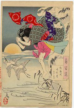 Moon of Pure Snow at Asano River - Chikako by Yoshitoshi - Original Japanese Woodblock Print, 1885