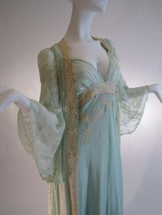 1930s Bridal Trousseau Silk Peignoir Set, Nightgown and Robe.