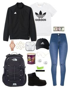 A fashion look from August 2017 featuring ripped skinny jeans, the north face backpack and golden jewelry. Browse and shop related looks. Timbs Outfits, Timberland Outfits, Swag Outfits, Cute Fashion, Teen Fashion, Fashion Outfits, Womens Fashion, Cute Comfy Outfits, Cool Outfits