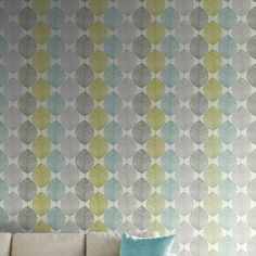 Arthouse Retro Leaf Wallpaper In Teals And Lime Greens On A Natural Background The