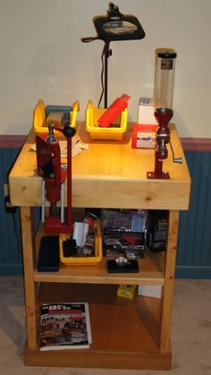 Small DIY reloading bench, just needs a shot shell reloader!