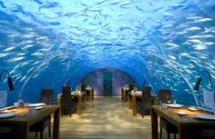 Restaurant at the Conrad Hilton, Maldives