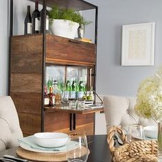 Industrial Bar Cabinet with Fold Down Table