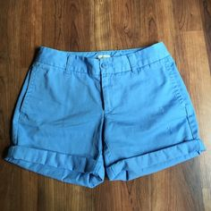 """J.Crew Chino Shorts Great pair of chino shorts from J.Crew! These are a relaxed fit. Size 0, but I think they could fit a size 2 as well. Features light distressing throughout. 7"""" inseam un-cuffed, 4.5"""" cuffed. 8"""" rise. J. Crew Shorts"""