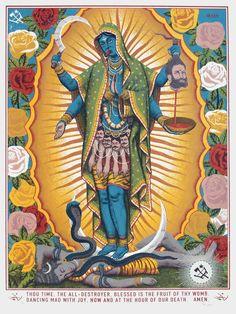 """Mary Kali"" bu Ravi Zupa. 18″ x 24″ 6-color Screenprint. Ed of 100 S/N. $125"