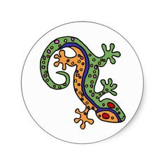 Gecko Art Round Stickers #geckos #lizards #aart #stickers #gifts And www.zazzle.com/inspirationrocks*