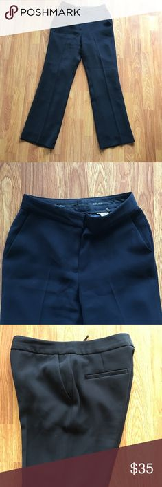 Calvin Klein Dressy Trouser Pants In excellent, pretty much brand new condition. Fully lined. The color is super dark navy, almost black (more black than navy). 29' inseam. Calvin Klein Pants Trousers