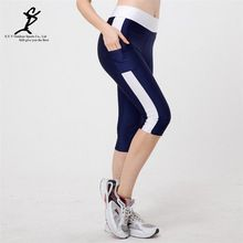 Women Pocket Running Compression Cropped Leggings Patchwork Sport Leggings  Fitness Trousers Running Tights High Waist Yoga 9f5a4b3a23a