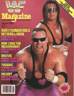 Vintage WWF Magazine August 1990 Issue Hart Foundation on cover Wrestling