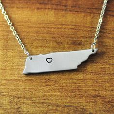 I heart Tennessee map Necklace Tennessee by LoveHandmadeJewelry, $12.99