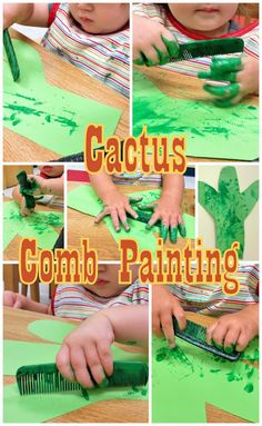 Cactus painting with comb