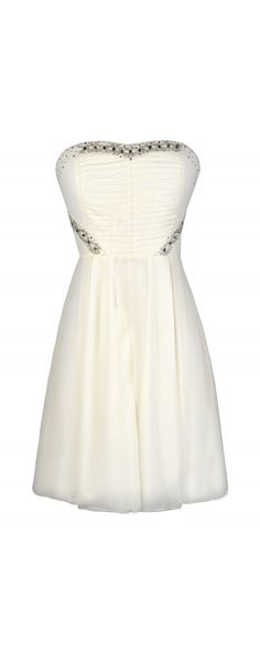 Bling It On Embellished Chiffon Party Dress in Ivory  www.lilyboutique.com
