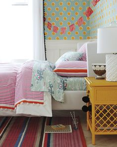 Candy Stripe Coverlet & Sham for a girl's bedroom! #serenaandlily