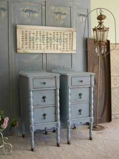 Antique Pair Of Nightstands Chic Bedroom Furniture Shabby Painted In French Blue. $879.00, via Etsy.
