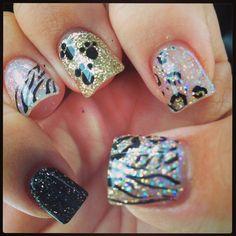 My nails --cheetah/zebra/pawprints  silver,gold,black gel nails