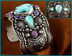 Another original from Darryl Becenti. This bracelet displays 3 pieces of natural Kingman Turquoise surrounded with 8 pieces of natural Sugelite.