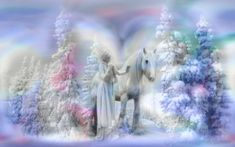 Winter Wonderland - softness, horse, pastel, beautiful, art, lovely, beauty, christmas, digital, girl, serene, woman, winter, fantasy