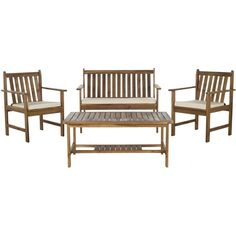 Safavieh Burbank Teak Finish Brown Acacia Wood 4-piece Outdoor Furniture Set   Overstock.com Shopping - The Best Deals on Sofas, Chairs & Sectionals