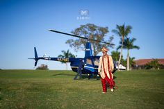 The groom makes his entrance from the air. #PGAweddings Anushree + Vivek  photography by Haring Photography